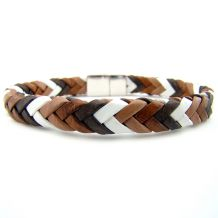 Bracelets de cuir tressé, collection Chevrons
